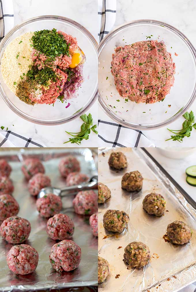 Step by step images for making meatballs.