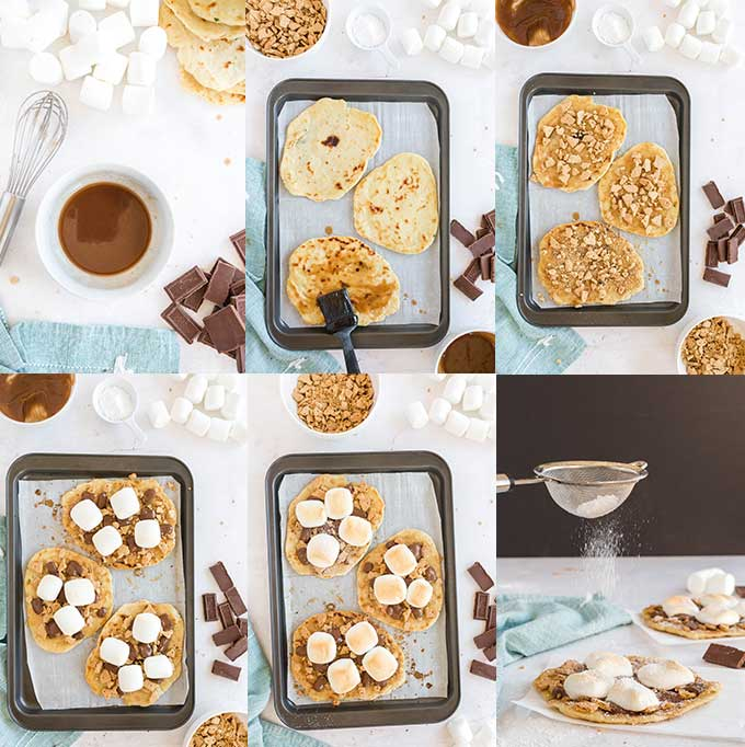 A collage of step by step photos showing how to make flatbread s'mores.