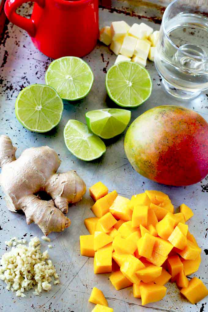 Ingredients to make the mango butter wine sauce.