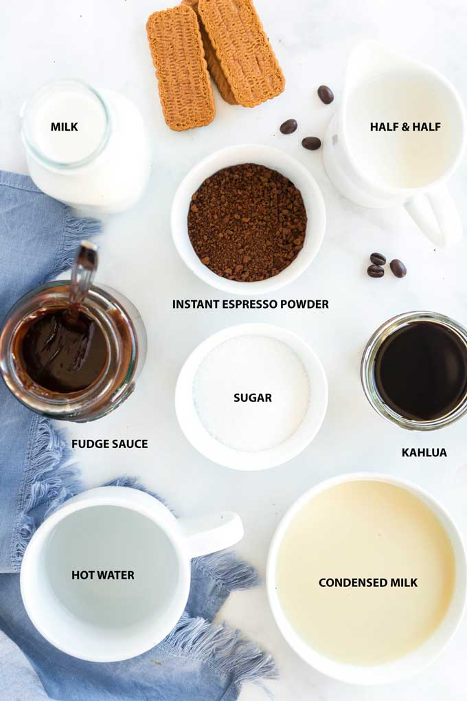 Ingredients to make Dalgona Whipped Coffee with Kahlua