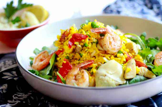 Spanish Paella Salad in a bowl.
