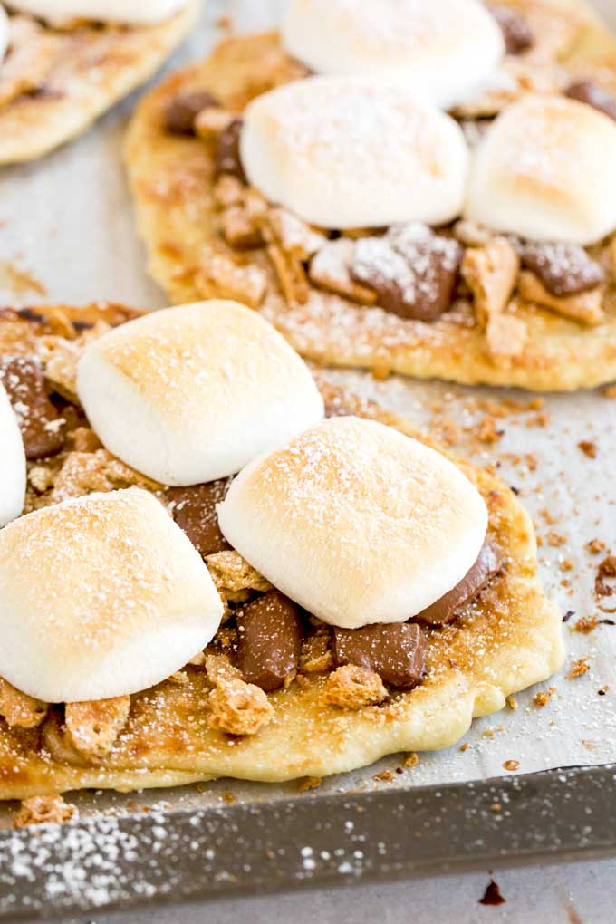 S'more Flatbread on a cooking sheet.