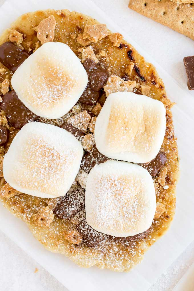 Top view of a freshly baked flatbread s'more.