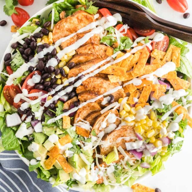The best chopped BBQ chicken salad in a white bowl.