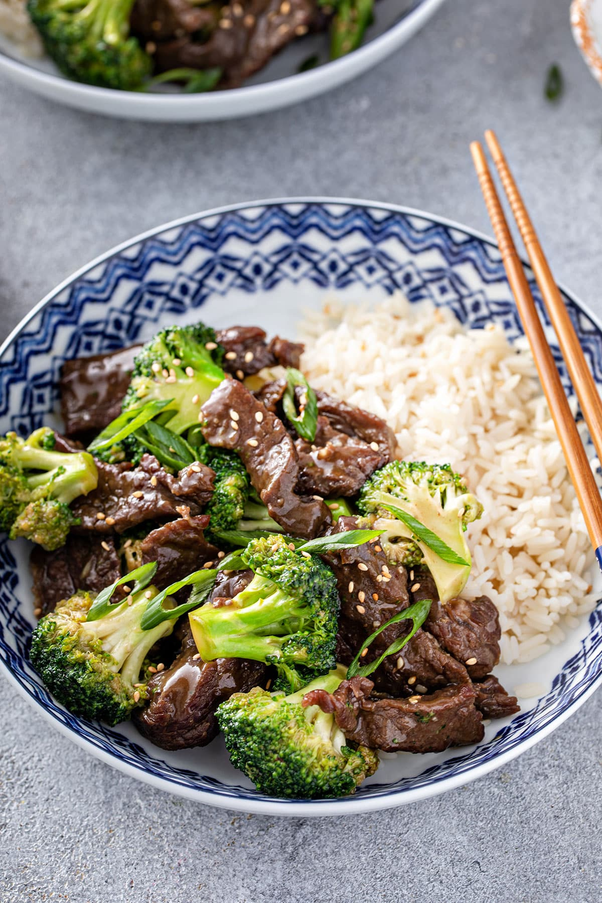 Close up view of Beef with Broccoli in a wok.