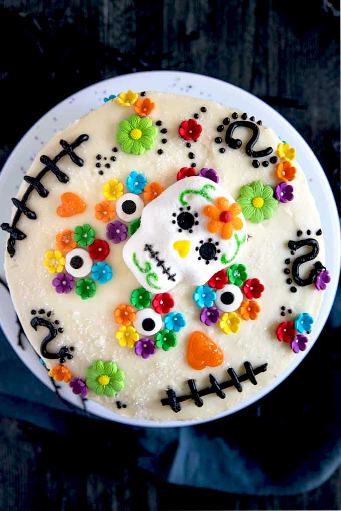 Top View of Skull Cake with flowers for Day Of The Dead or Halloween.