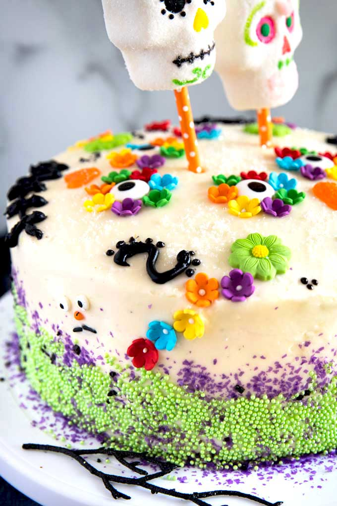 Close up view of Day Of The Dead Cake Decorations