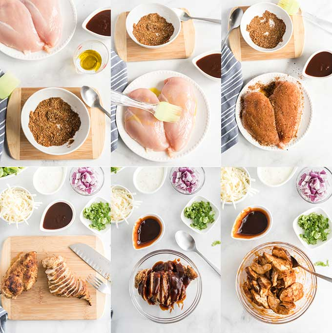 Collage of step by step photos for making BBQ Chicken breast