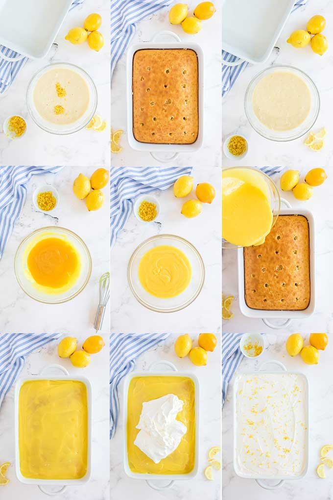 Step by step photo collage for how to make lemon poke cake