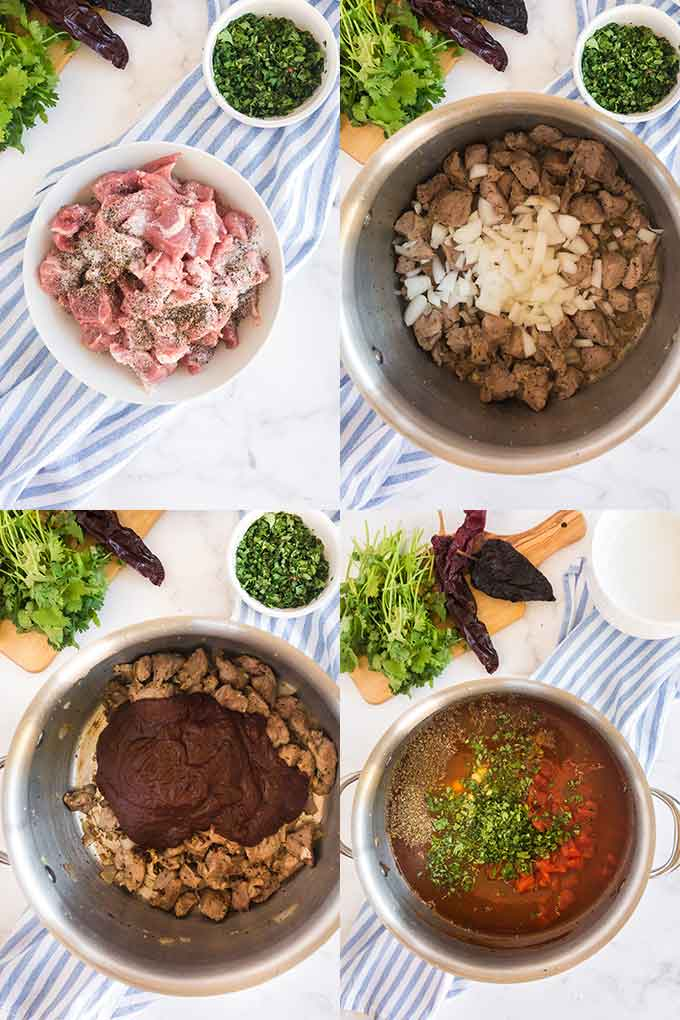 Photo collage on how to make Mexican pozole
