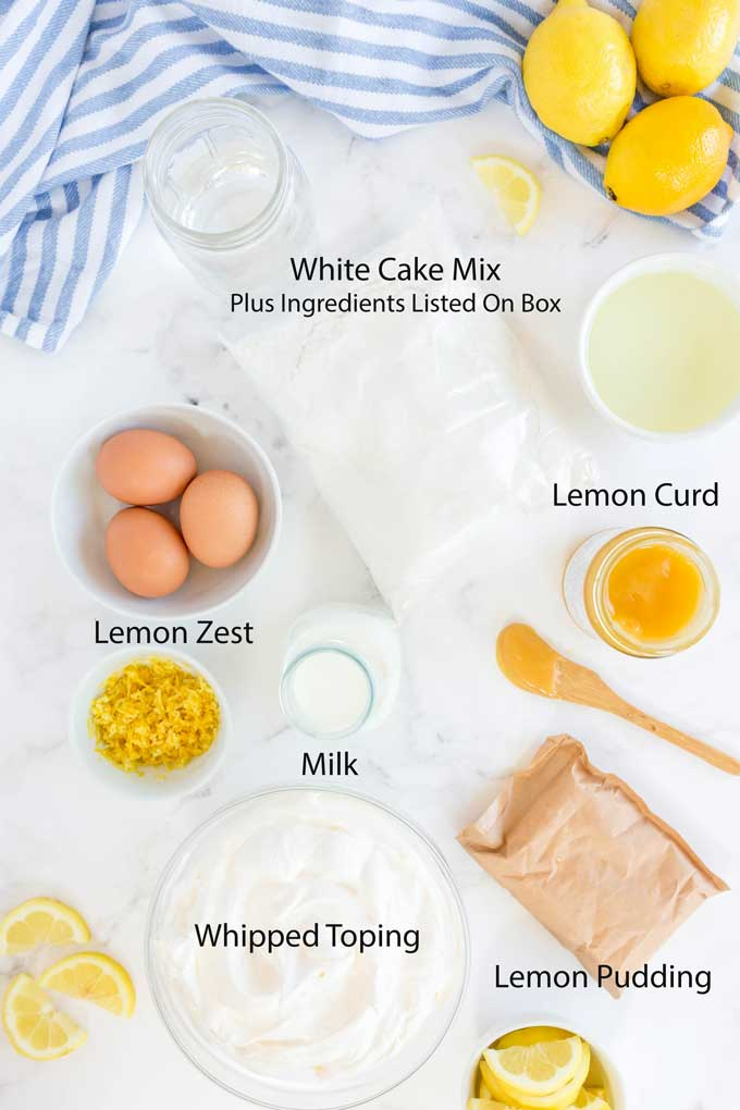 Ingredients to make Luscious Lemon Cake on a white surface