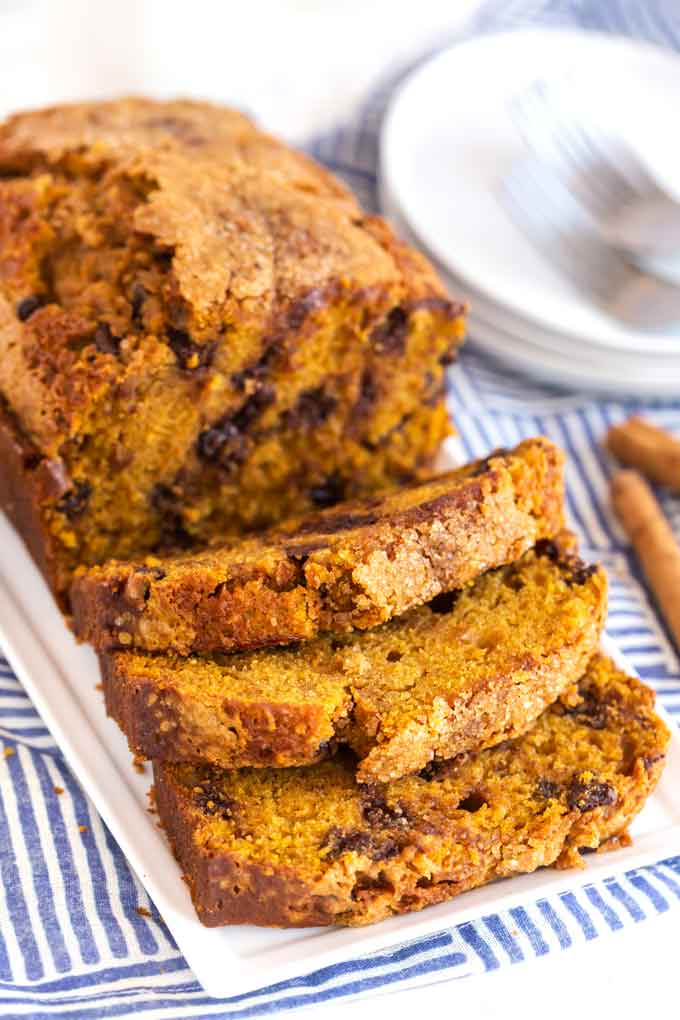 Chocolate Chip pumpkin loaf sliced