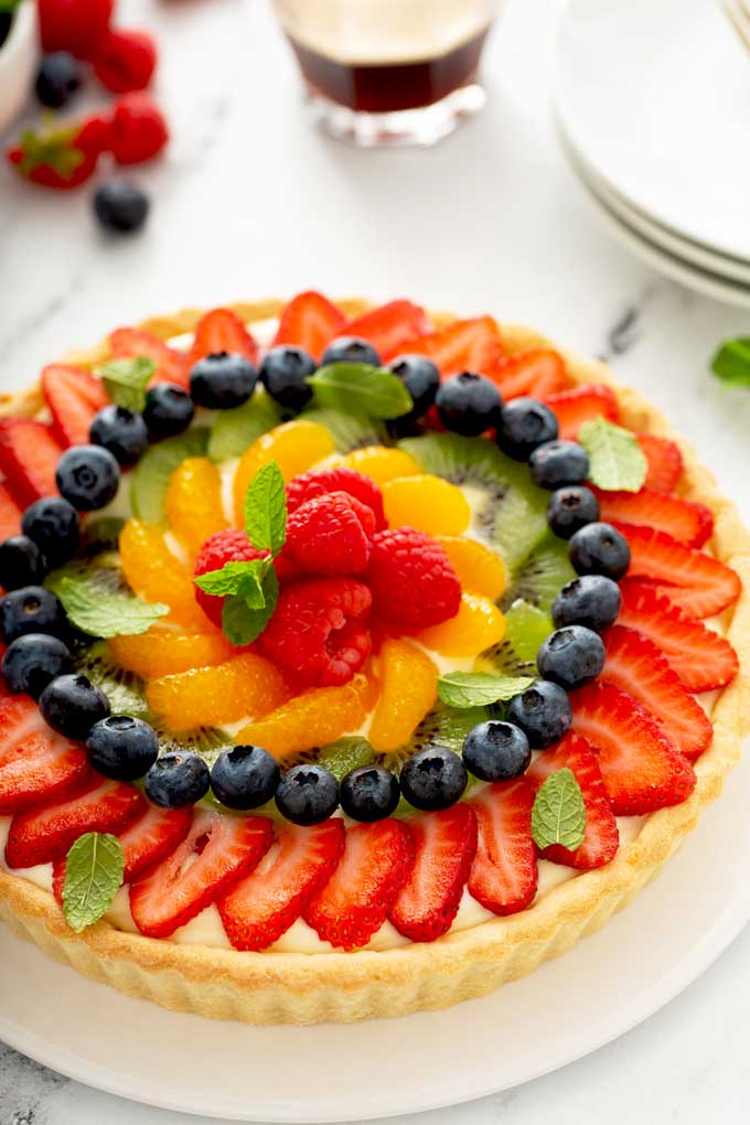 A close up view of French Tart with fresh fruit topping.