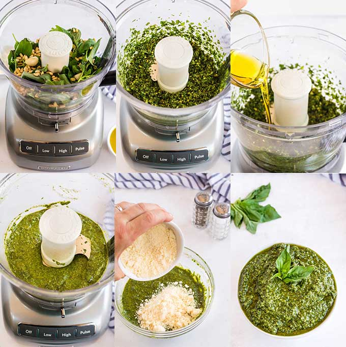 Photo collage of step by step photos on how to make homemade pesto.