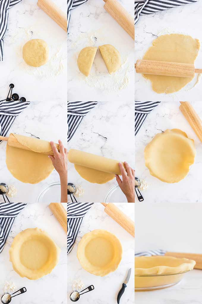Step by step photos on how to roll out pie crust dough.