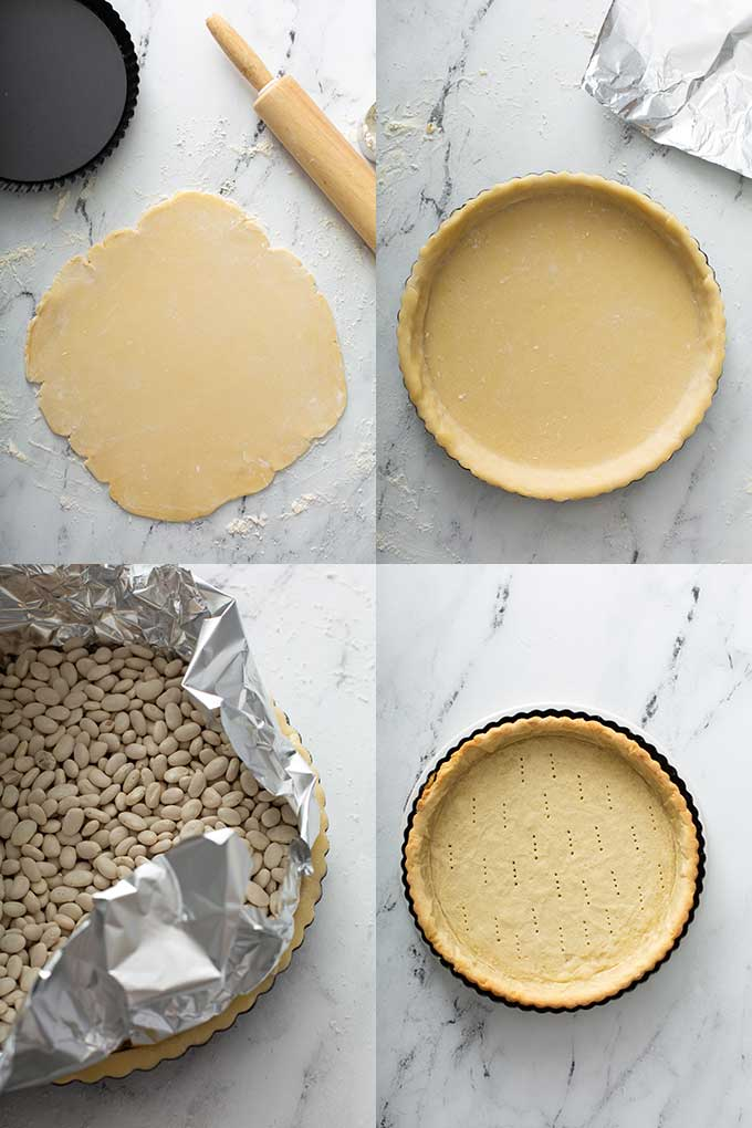 Image of the steps for rolling the tart crust dough, adding it to the tart pan, blind baking the tart crust and a baked tart crust or shell.