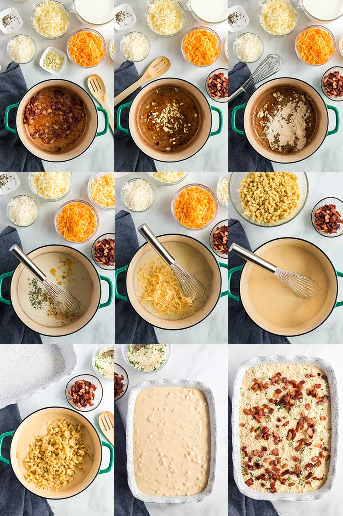 Step by step photos on how to make Carbonara Mac & Cheese.