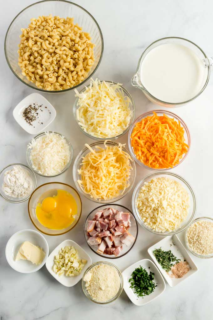 Ingredients to make this easy pasta recipe on a marble white counter.