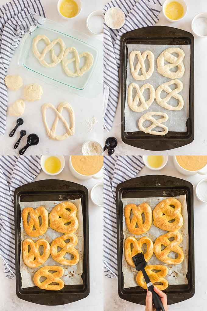 Collage of photos on how to give pretzels a hot water bath and the process of baking