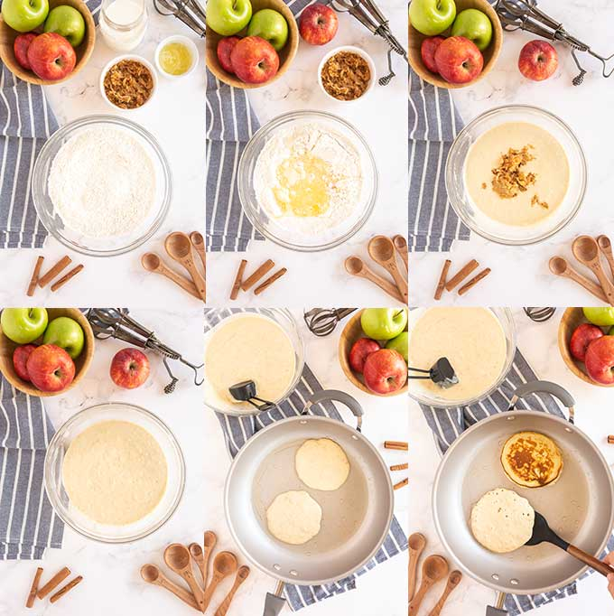 Step by step photos on how to make apple pancakes.
