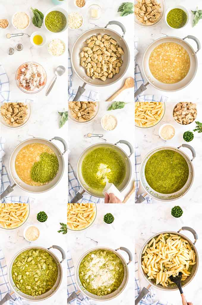 Step by step photo collage on how to make chicken pesto pasta.