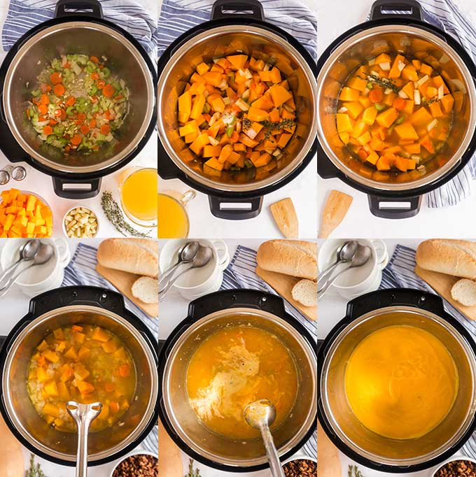 Step by step photos on how to make Butternut Squash Soup in the pressure cooker
