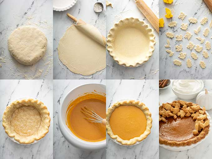 Step by step photos on how to make pumpkin pie