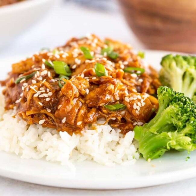 Chicken teriyaki shredded over rice