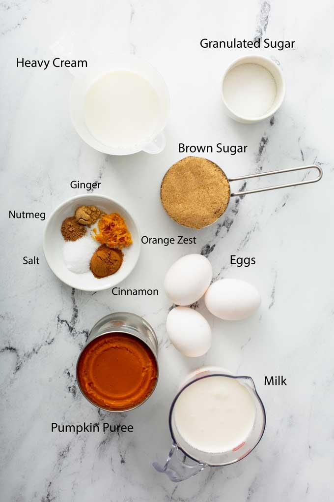 Ingredients for making pumpkin pie filling.