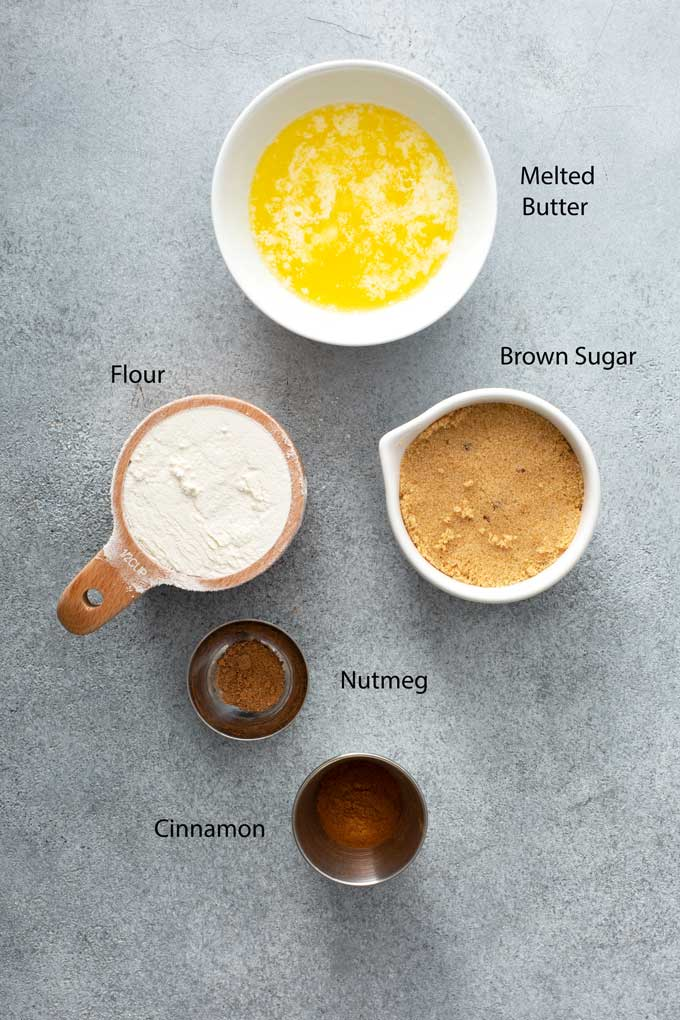 Ingredients to make the cinnamon streusel layer.