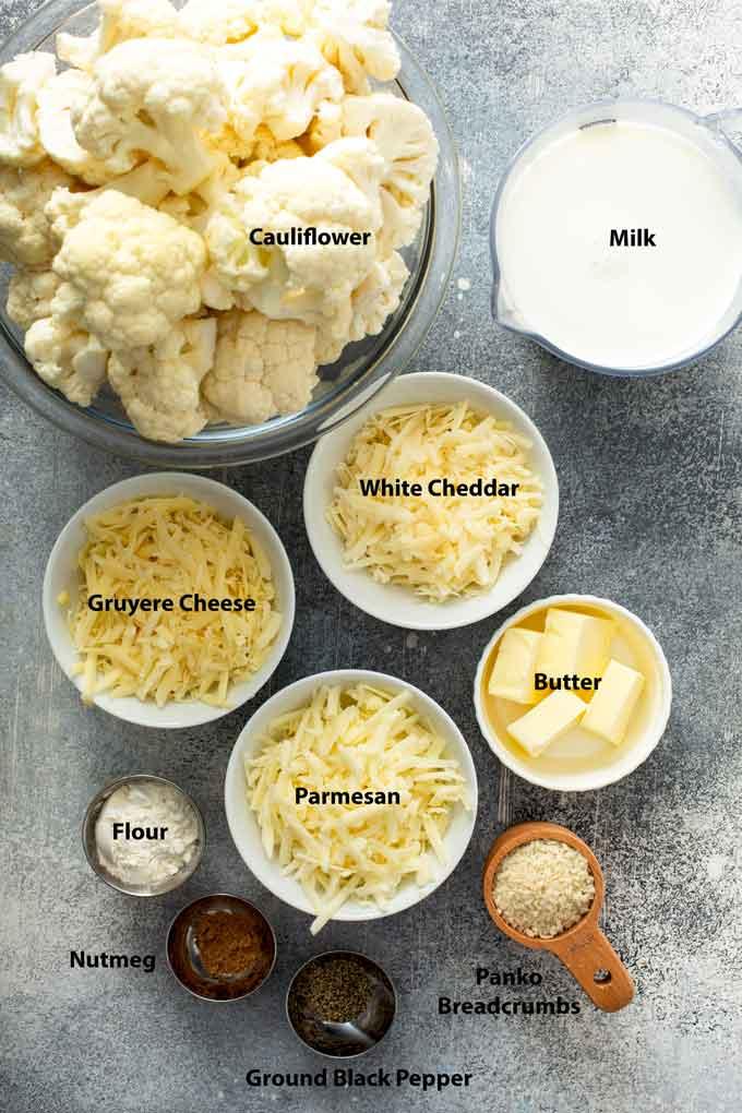 Ingredients to make Baked Cauliflower Gratin