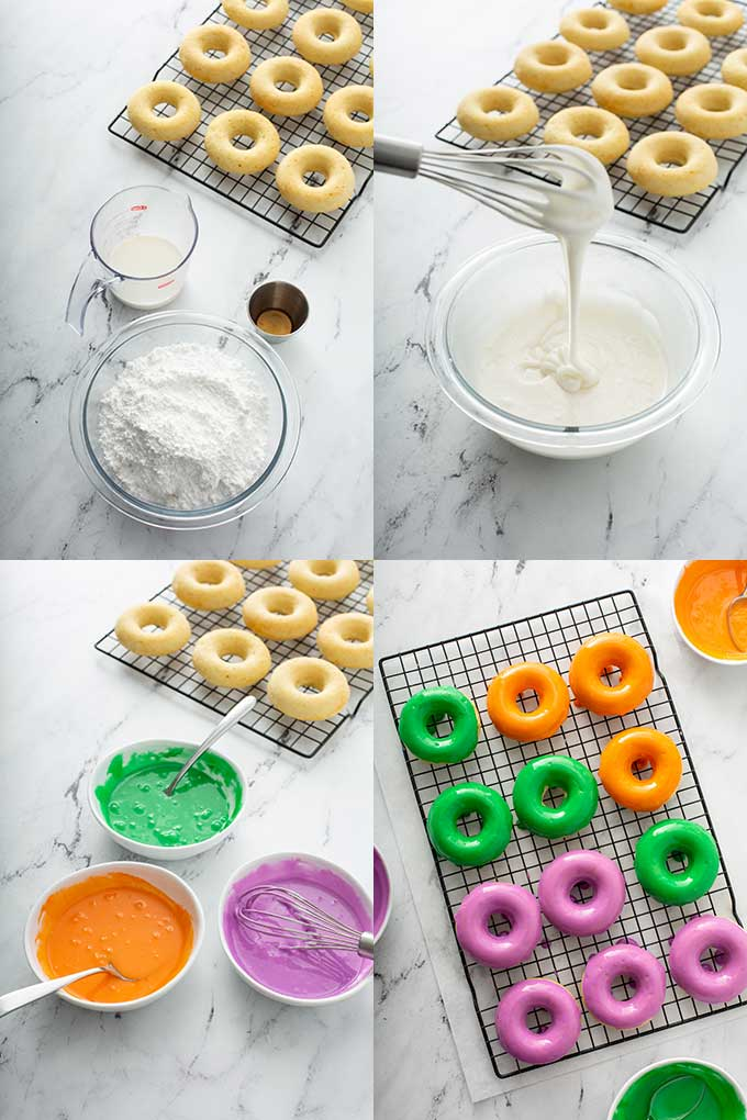 Step by step photos on making and coloring the donut glaze.