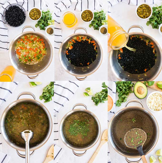 Image collage on how to make easy black bean soup from scratch.