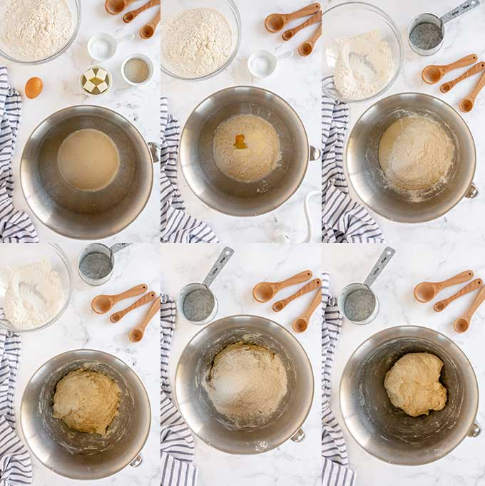 Collage of step by step images on how to mix yeast dough to make dinner buns.