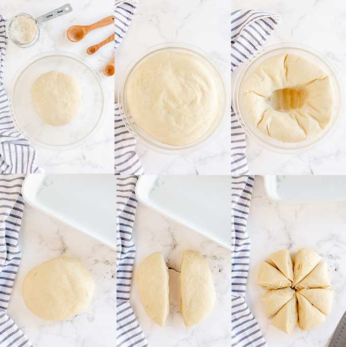 Step by step images on making bread rolls.