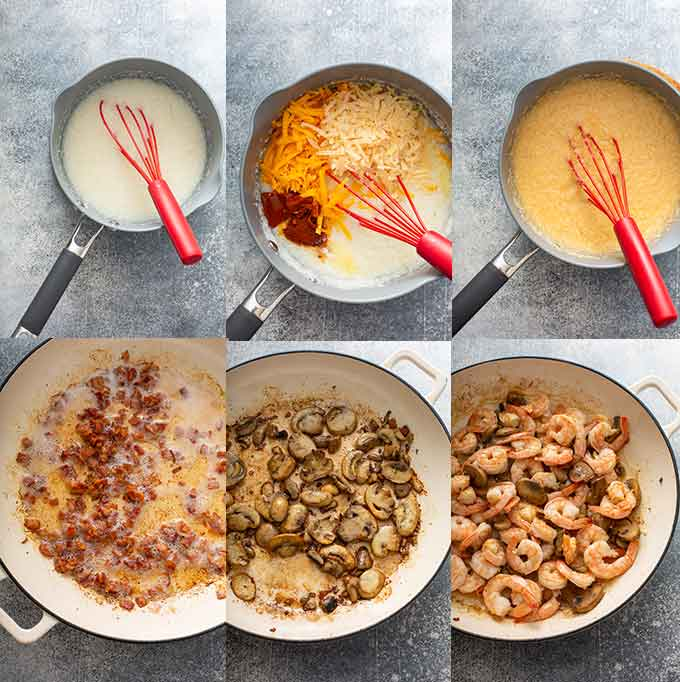 Photo collage of step by step photos on how to make Cajun shrimp and cheesy grits