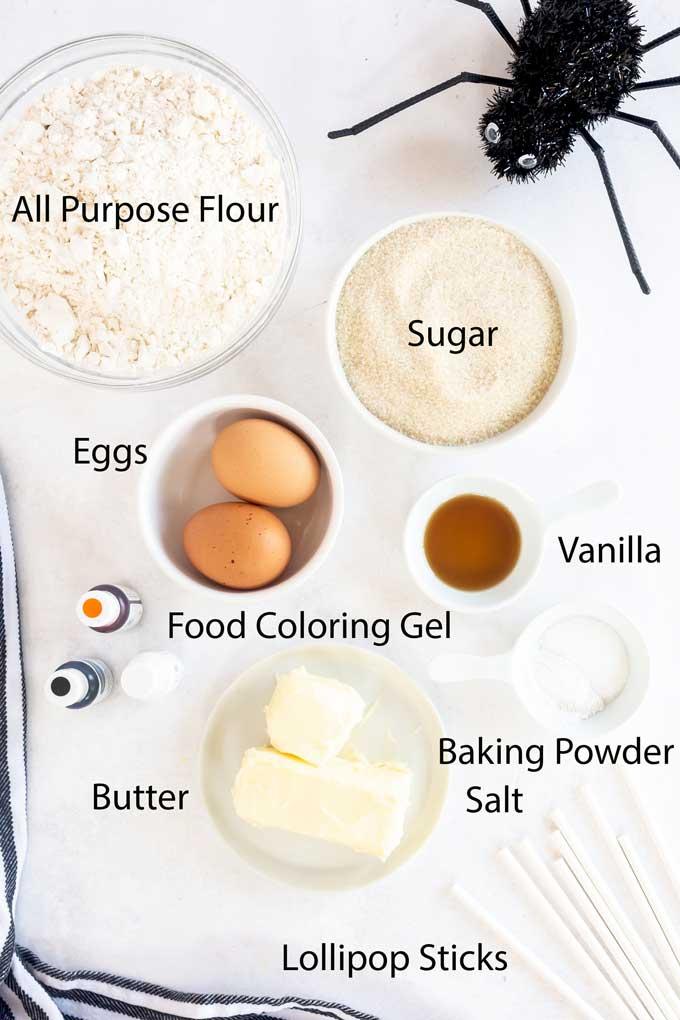 Halloween Lollipop Cookie Ingredients