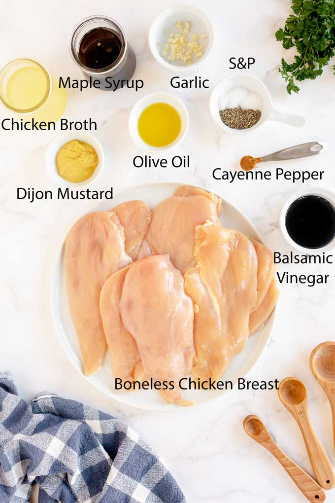 Ingredients to make Maple Balsamic Glazed Chicken.