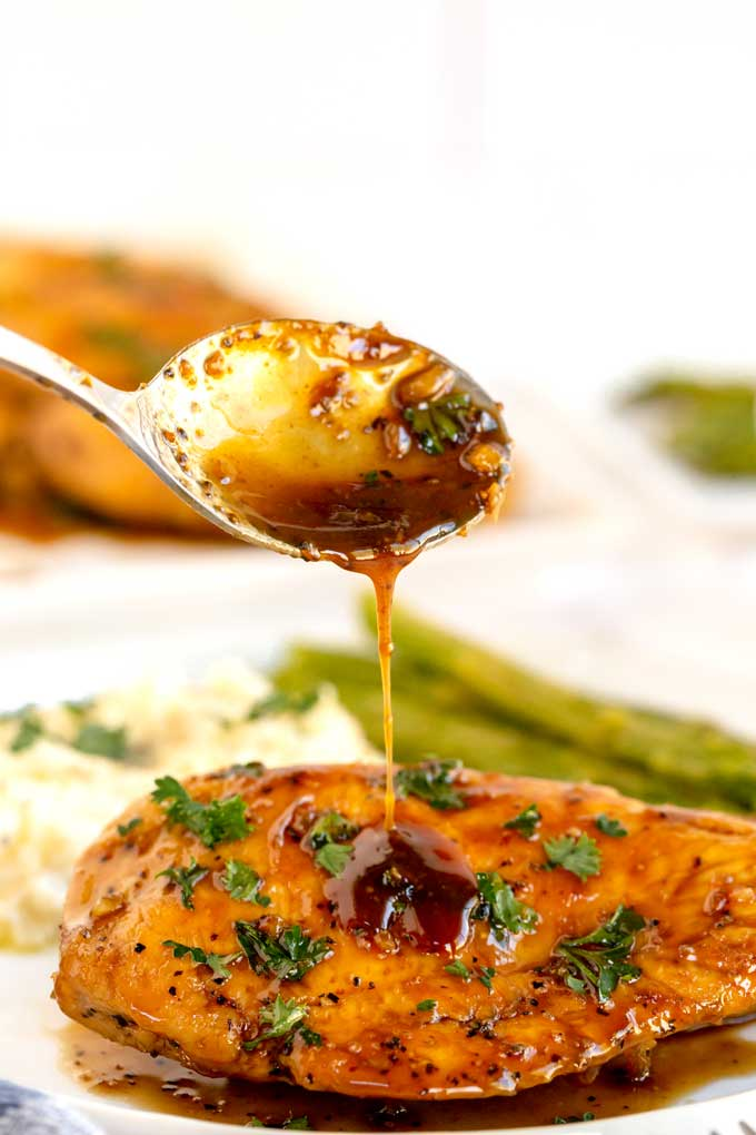 Balsamic Maple Glaze been poured over chicken