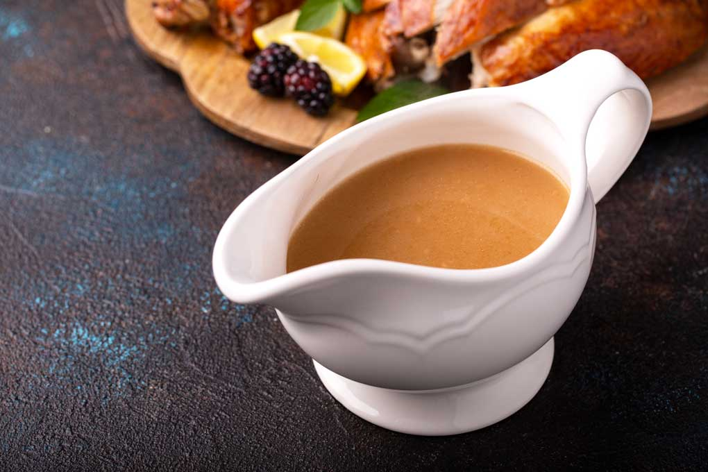 Smooth and tasty pan gravy on a gravy boast.