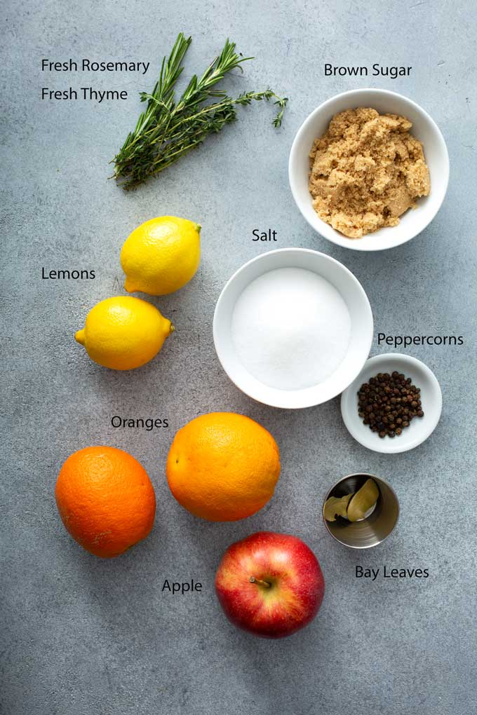 Ingredients to make a brine for turkey or other meats