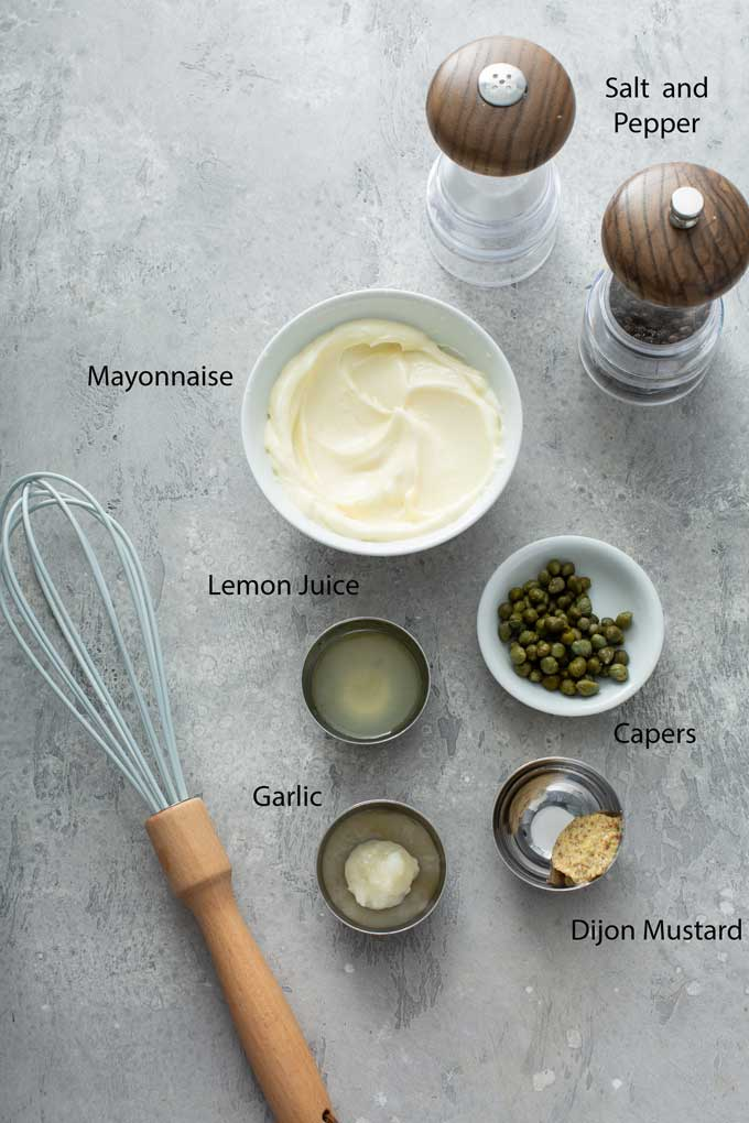 Ingredients to make lemon aioli