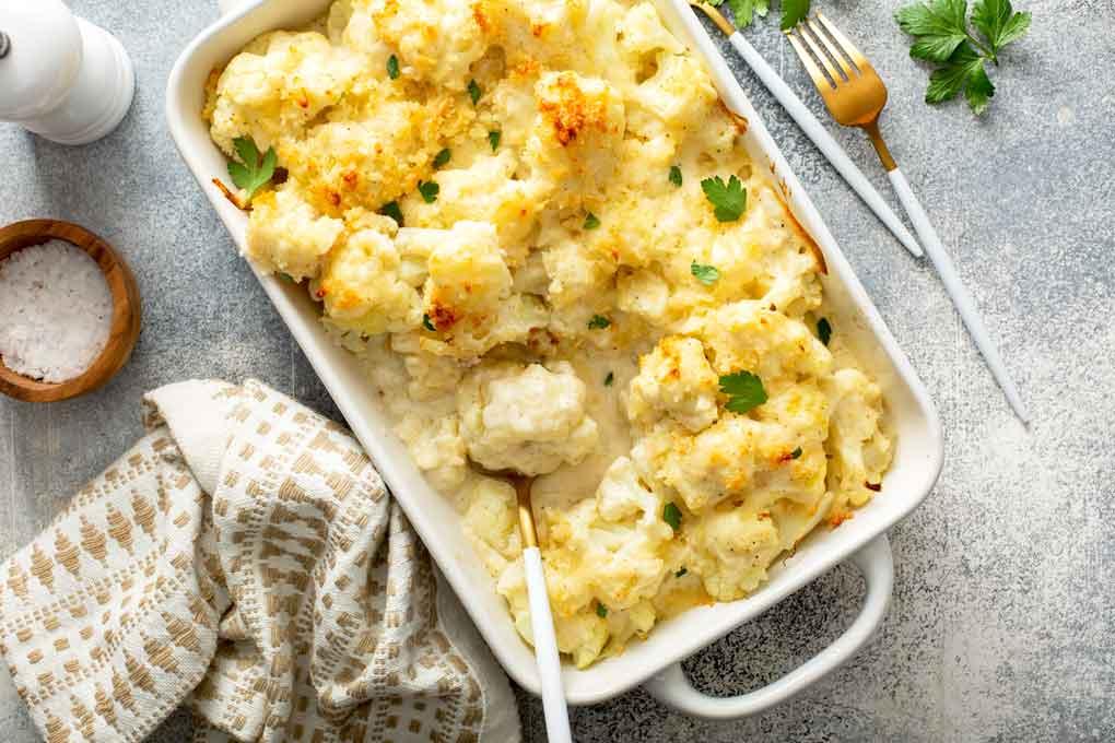 Top view of a creamy cheesy cauliflower casserole.