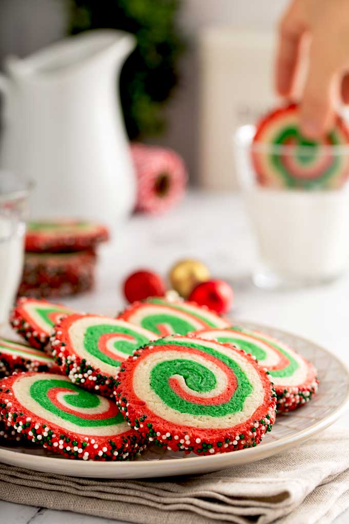 A plate with festive sugar christmas cookies