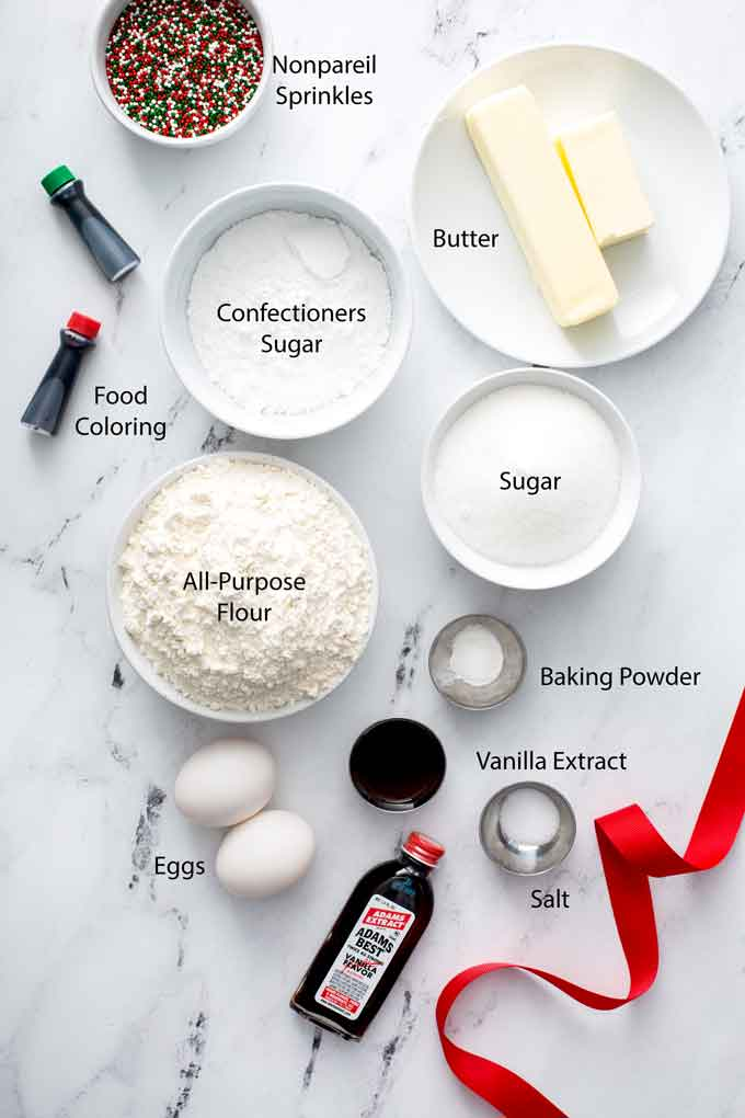 Ingredients to make easy Pinwheel Cookies for the holidays.