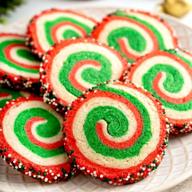 plate full of Christmas Pinwheel cookies.