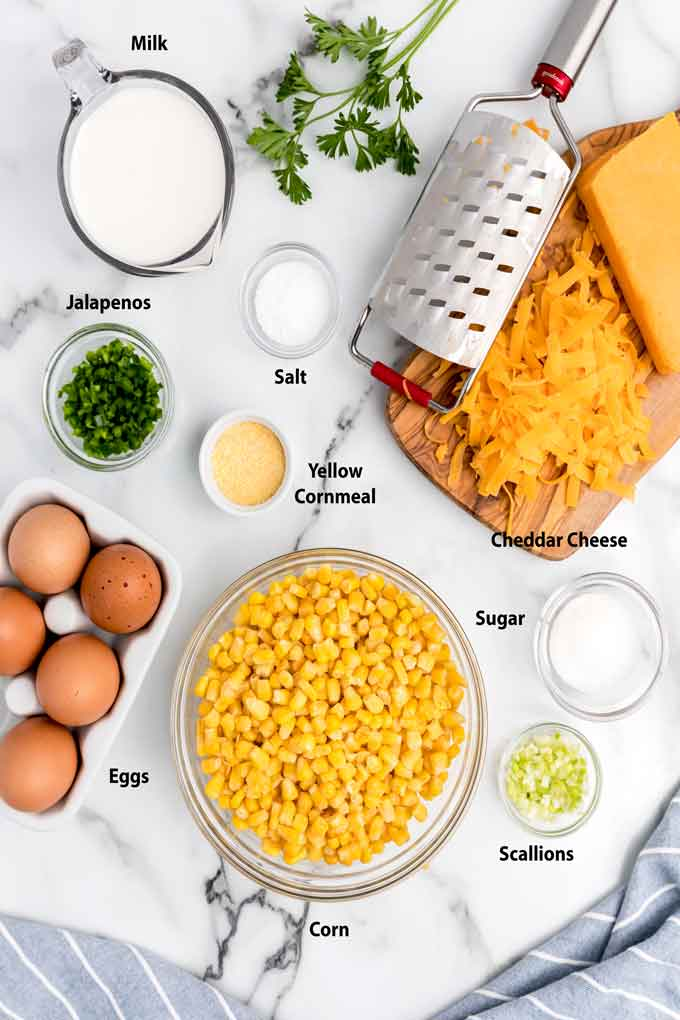 Ingredients to make corn casserole