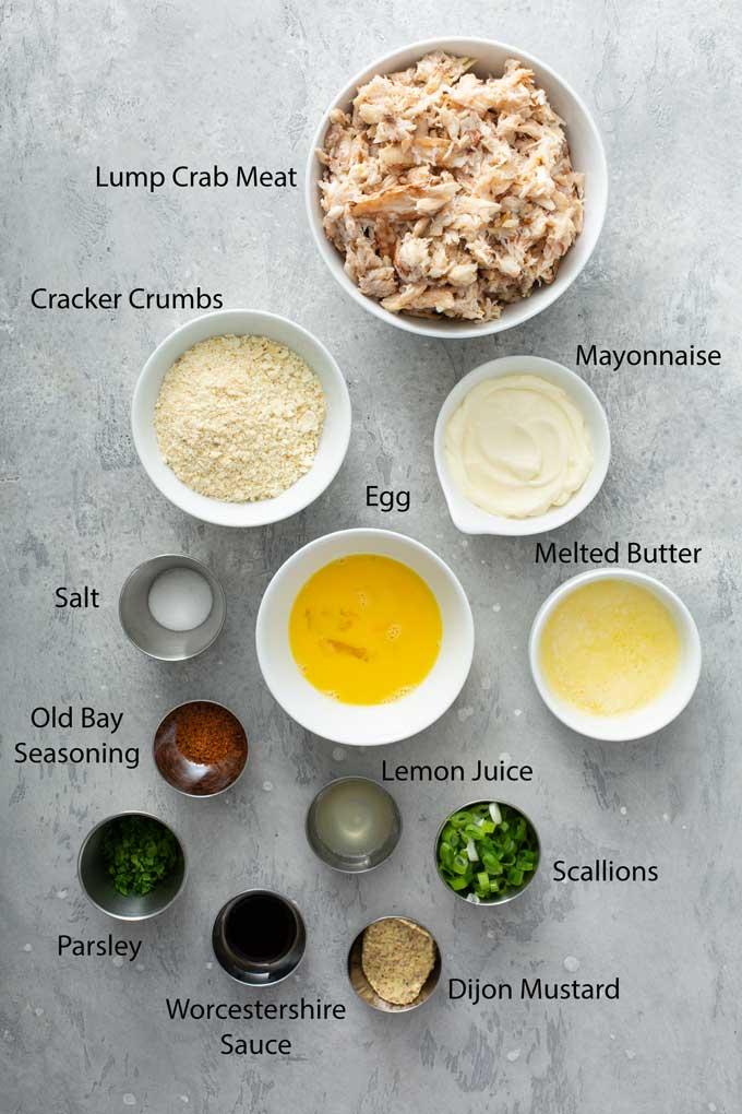 Ingredients to make the crab patties