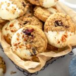 Cranberry oatmeal cookies in a basket