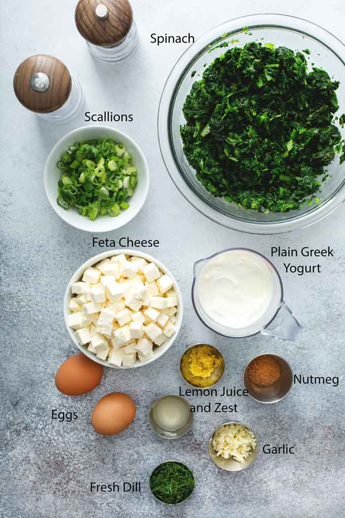 Ingredients to make Greek spanakopita